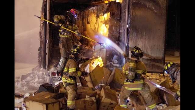 Semi Full of Paper Towels Catches Fire on I-90