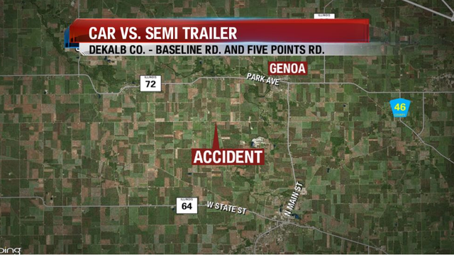 Three People Hurt in Accident Involving Semi in DeKalb County