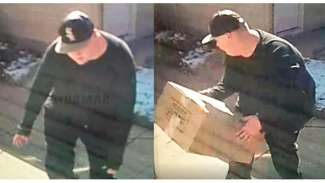 Thief caught on camera, stealing package from porch in broad daylight