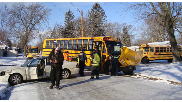 7 injured in school bus crash in Bedford
