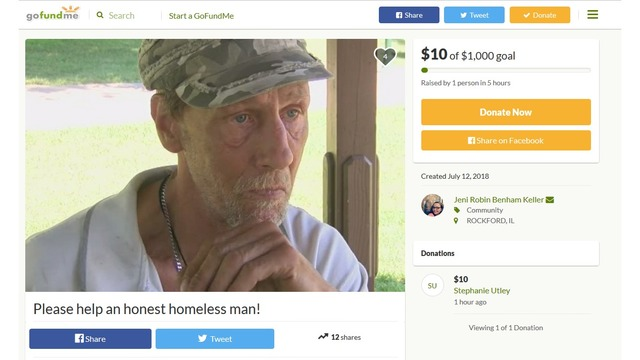 GoFundMe page set up for homeless Dixon man who returned wallet full of money