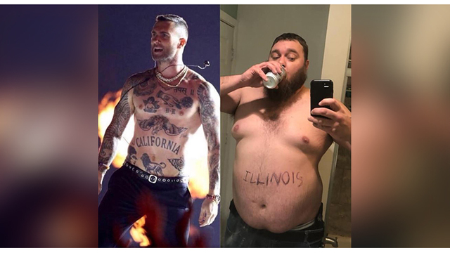 Illinois man goes viral aping Adam Levine's shirtless stint at Big Game