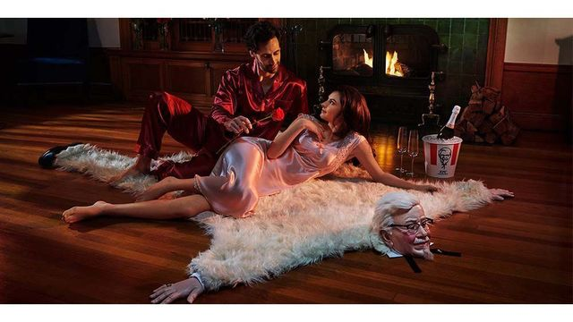 KFC wants you to enjoy romance on a Colonel Sanders bearskin rug this Valentine's Day